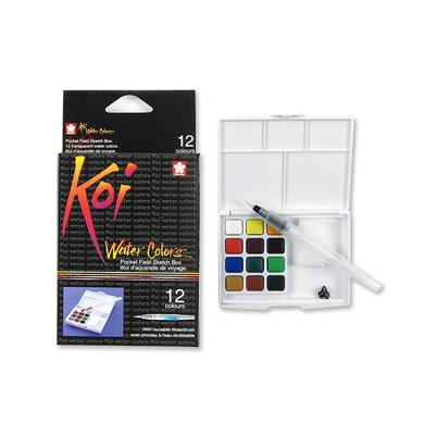 SKXNCW-12H Sakura Koi Water Color Pocket Field Sketch Box- 12 colors
