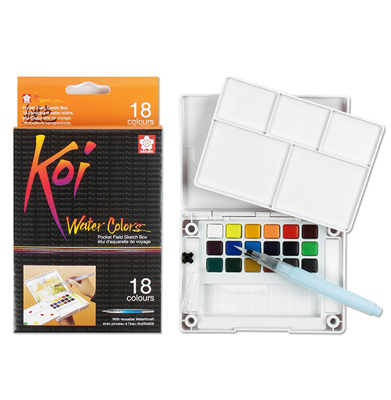 SKXNCW-18N Sakura Koi Water Color Pocket Field Sketch Box- 18 colors