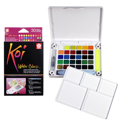 SKXNCW-30N Sakura Koi Water Color Pocket Field Sketch Box- 30 Colors