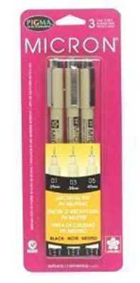 SK30061 Sakura Micron 3 Pc Set (01, 03, 05) - black