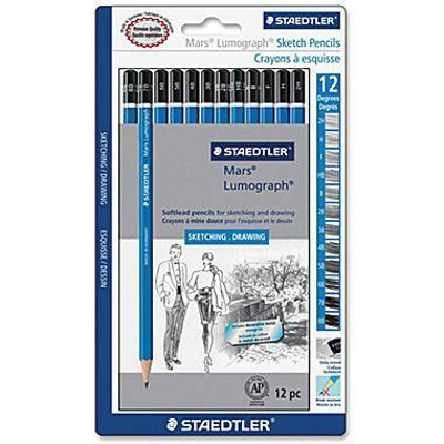 MS100G12SBK Staedtler Lumograph Graphite Pencil 12 Set: sketching and drawing