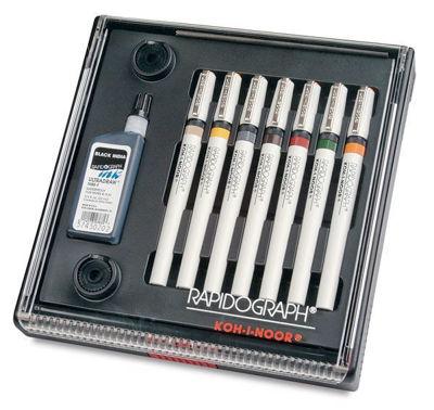 KO3165SP7P Koh-I-Noor Rapidograph 7 Pen Set