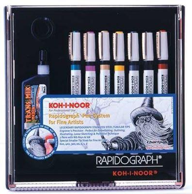 KO3165SP7A Koh-I-Noor Rapidograph Artist 7 Pen Set
