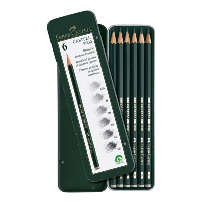 Faber-Castell Castell 9000 Graphite Pencil Design Set - Metal Tin Of 6