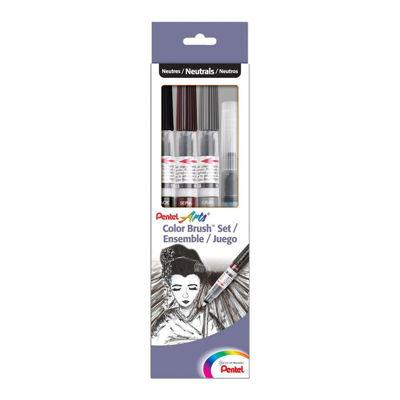 Pentel Color Brush Set, Black,Gray,Sepia, Aquash Water Brush Box Set