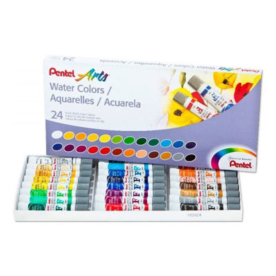 Pentel Water Colors Assorted Colors, 24-Pk
