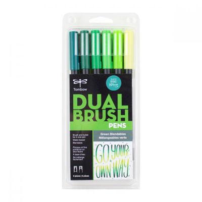 TB56221 Tombow Abt Dual Brush Pen 6 Set - Green Blendables