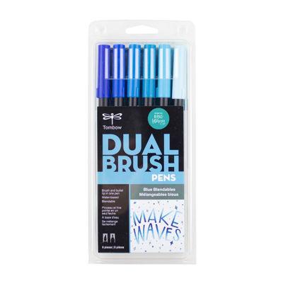 TB56222 Tombow Abt Dual Brush Pen 6 Set - Blue Blendables