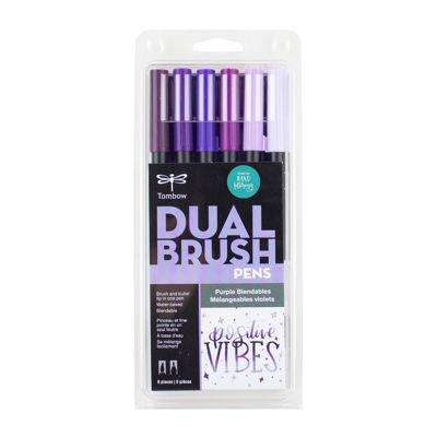 TB56224 Tombow Abt Dual Brush Pen 6 Set - Purple Blendables