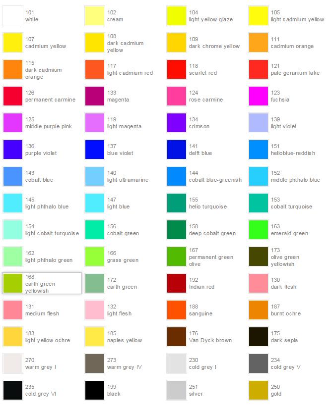 Watercolor Pencil ART GRIP Aquarelle Color Chart